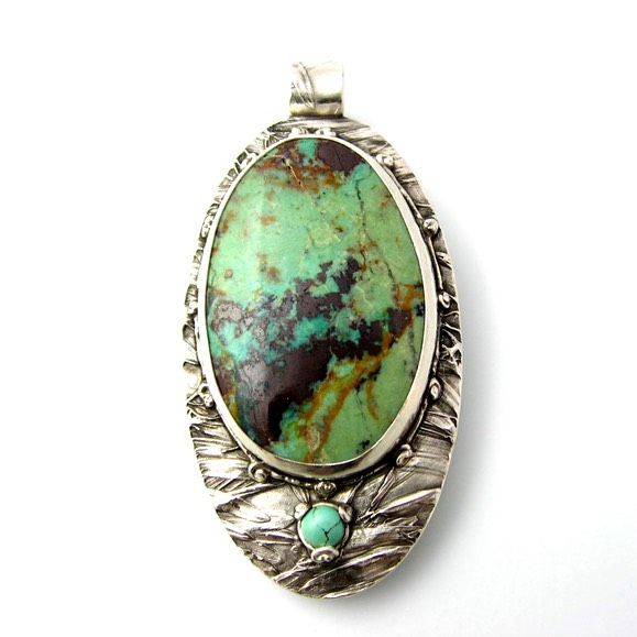 Serpentine and Tiny Sleeping Beauty Turquoise Pendant