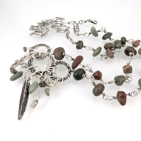 Feathers & Pebbles Adjustable Necklace