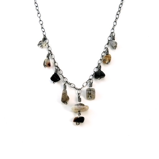 Montana Agate Oxidized Silver Necklace